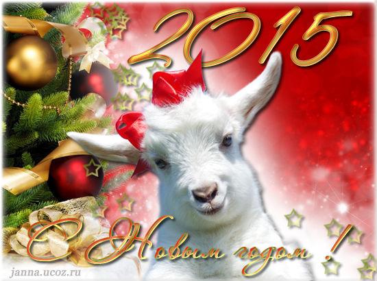 Поздравления с Новым годом, открытки с кодом - 2015 год Овцы/Козы