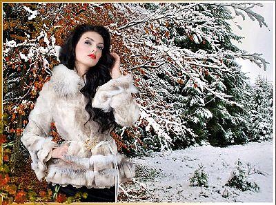 ... Девушка с ладошек снег искрящийся стряхнет