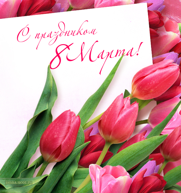 Поздравления 8 марта — С Праздником! — Открытка с цветами — тюльпаны